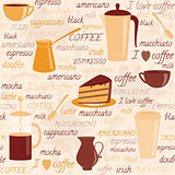 Seamless pattern with coffee related elements