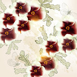 Beautiful vector background in vintage style with  flowers