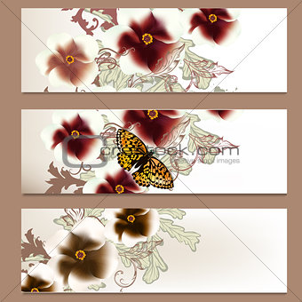 Brochure vector set in floral style for design