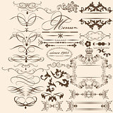 Collection of vintage vector design elements and page decoration
