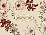 Elegant hand drawn invitation card in floral style