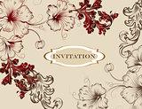 Elegant hand drawn invitation card in floral style