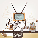 Fashion retro background with coffee
