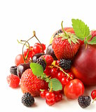 berry assortment - raspberries, blackberries, strawberries, currants, cherries
