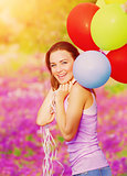 Cute female with balloons