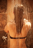 Girl take shower outdoor