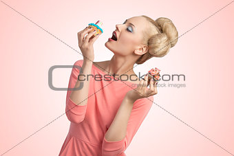 greedy woman with cupcakes