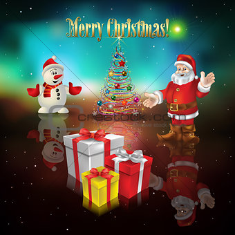 Abstract background with Santa Claus and Christmas gifts
