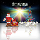 Abstract Christmas greeting with Santa Claus