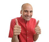 strange man showing his thumbs up