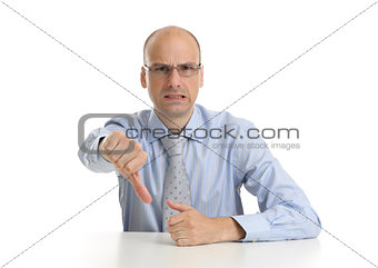 business man with thumbs down over white