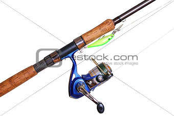 Fishing rod and reel isolated on white