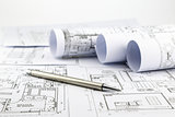 blueprints and pen
