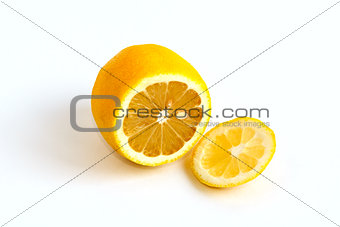 Cutted yellow lemon on a white