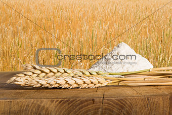 Bread, flour and wheat cereal crops.
