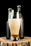 Bottles of beer and beer mug on stump