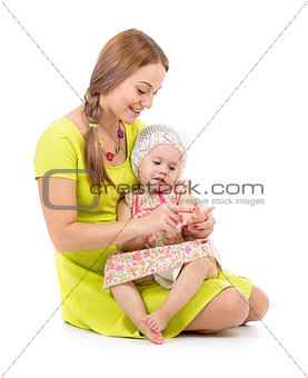 mother and kid sitting and counting fingers together isolated on