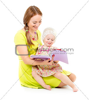 mother and little girl sitting and reading book together isolate