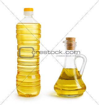 olive and sunflower oil bottles set isolated over white