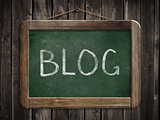 Blog word written on blackboard