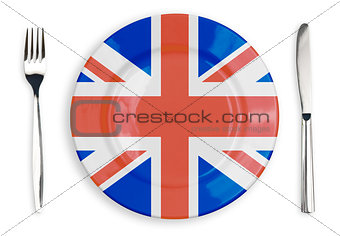 British flag  plate, fork and knife top view isolated