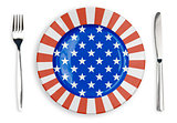 USA or American flag  plate, fork and knife top view isolated