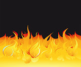 Fire flames on a dark background