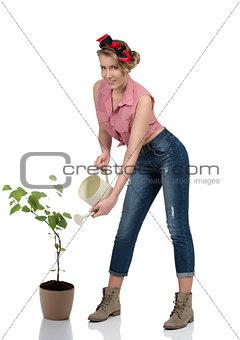 portrait of sexy female gardener