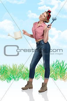 portrait of smiling gardener female