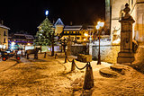 Illuminated Christmas Tree on Central Square of Megeve in French
