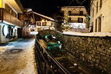 Illuminated Street of Megeve in French Alps, France