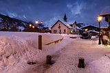Megeve Ski Resort at French Alps in the Night