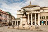 Garibaldi Statue and Opera Theater in Genoa, Italy