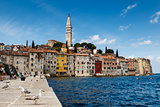 The Pier and the City of Rovinj on Istria Peninsula in Croatia