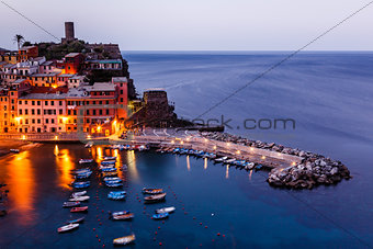 Aerial View on the Village of Vernazza at the Morning, Cinque Te