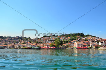 Ohrid lake and an old town of Ohrid in the background