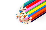 Coloring pencils bundled together on white background