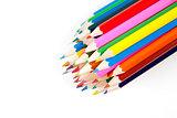 Coloring pencils bundled together on white background