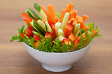 Red Bell pepper, cucumber and carrots straws