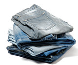 Stack of Folded Old Jeans