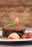 Raw vegan avocado chocolate mousse with nectarine
