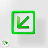 eco symbol, direction movement left and down
