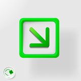 eco symbol, direction movement right and down