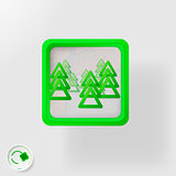 eco badge, green  forest, abstract background