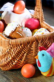 Easter basket with Easter cakes and eggs.