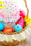 Basket with Easter cakes and eggs.