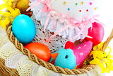 Easter cake and eggs in a basket.