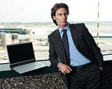 businessman sitting in the airport b