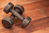 vintage iron dumbbells