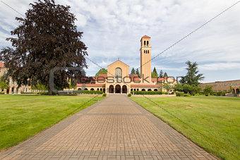 Brick Path to Mt Angel Abbey Church Entrance